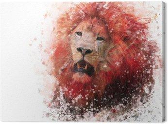Cuadro en Lienzo Acuarela cabeza de león