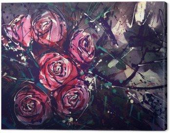 Cuadro en Lienzo Acuarela rosas estilo de la pintura del arte abstracto.