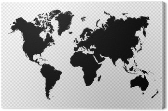 Cuadro en Lienzo Aislado silueta Negro archivo de mapa vectorial EPS10 Mundial.