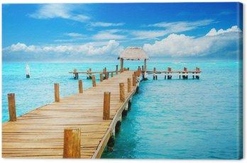 Cuadro en Lienzo Alquiler de vacaciones en Tropic Paradise. Embarcadero en Isla Mujeres, México