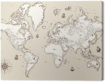 Cuadro en Lienzo Alto, mapa del mundo antiguo detallada con elementos decorativos