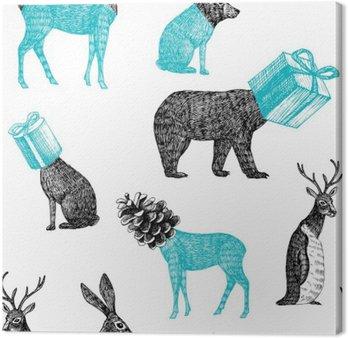 Cuadro en Lienzo Animales de invierno dibujados a mano de fondo sin fisuras