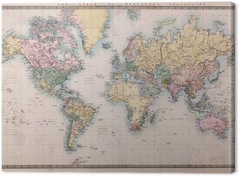 Cuadro en Lienzo Antiguo Mapa del mundo antiguo en Mercators Proyección