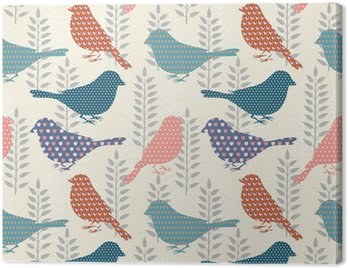 Cuadro en Lienzo Birds patrón transparente