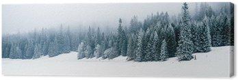 Cuadro en Lienzo Bosque blanco del invierno con nieve, fondo de Navidad