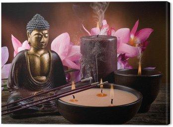 Cuadro en Lienzo Buddah con velas e incienso