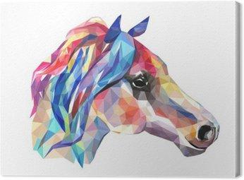 Cuadro en Lienzo Cabeza de caballo, mosaico. Estilo de moda geométrica sobre fondo blanco.