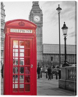 Cuadro en Lienzo Cabina de teléfono roja en Londres con el Big Ben en blanco y negro