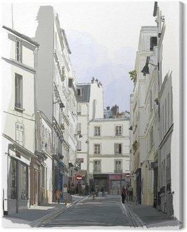 Cuadro en Lienzo Calle cerca de Montmartre en París