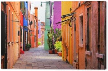 Cuadro en Lienzo Calle colorida en Burano, cerca de Venecia, Italia