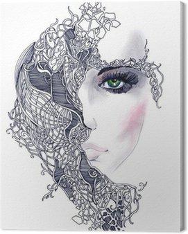 Cuadro en Lienzo Cara de mujer abstracta