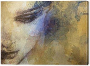 Cuadro en Lienzo Cara de mujer hermosa. ejemplo de la acuarela