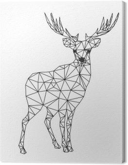 Cuadro en Lienzo Carácter poli baja de ciervos. Diseños para Navidad. Ilustración de Navidad en el estilo de la línea de arte. Aislado en el fondo blanco.