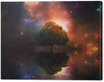 Cuadro en Lienzo Cielo nocturno y el árbol