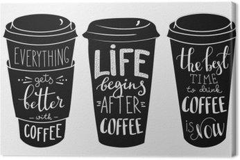 Cuadro en Lienzo Cita las letras en el papel de café conjunto forma de copa