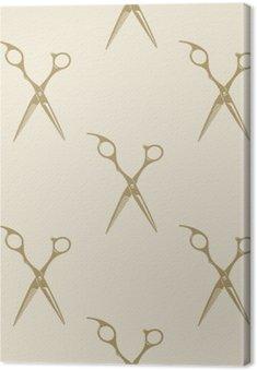 Cuadro en Lienzo Colección de etiquetas patrón de tijeras azulejo de fondo sin fisuras barbería vendimia símbolo emblema