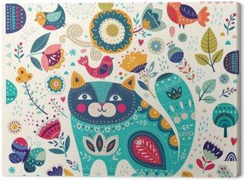 Cuadro en Lienzo Colorida ilustración vectorial con el gato hermoso, mariposas, pájaros y flores