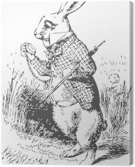 Cuadro en Lienzo Conejo blanco con el reloj Alice Wonderland