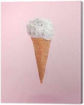 Cuadro en Lienzo Cono de helado en el fondo de color rosa