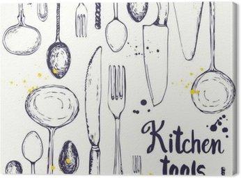 Cuadro en Lienzo De fondo sin fisuras con los utensilios para comer. patrón de menú.
