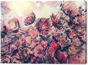 Cuadro en Lienzo Dibujo, acuarela del ramo de la flor de la paja