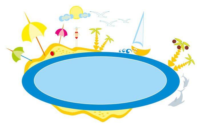 Cuadro en Lienzo Dibujo beb  Playa de A y mar el sol y el cielo