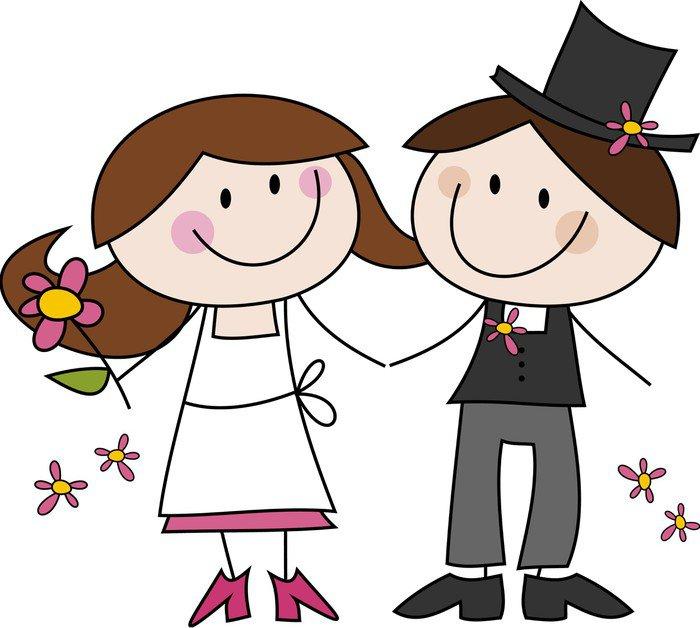 Cuadro en Lienzo Dibujo de la historieta Feliz pareja de novios