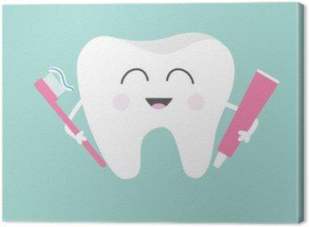 Cuadro en Lienzo Diente sosteniendo la pasta de dientes y cepillo de dientes. historieta divertida linda del carácter sonriendo. Niños dientes icono de atención. la higiene dental oral. salud dental. Fondo del bebé. Diseño plano.