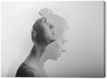 Cuadro en Lienzo Doble exposición con muchacha joven y hermosa, en blanco y negro