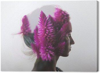 Cuadro en Lienzo Doble exposición creativa con el retrato de la joven y flores
