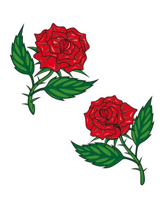 Cuadro en Lienzo Dos rosas rojas de dibujos animados  Pixers