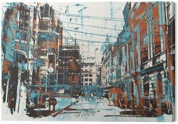 Cuadro en Lienzo Ejemplo de la pintura de la calle urbana con textura del grunge