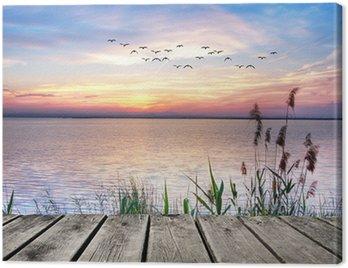 Cuadro en Lienzo El lago de las nubes de colores