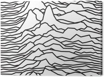 Cuadro en Lienzo El ritmo de las olas, el pulsar, diseño de líneas vectoriales, líneas quebradas, montañas