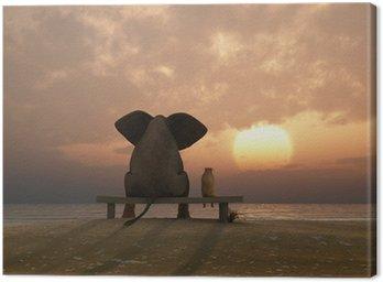 Cuadro en Lienzo Elefante y el perro se siente en una playa de verano