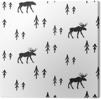 Cuadro en Lienzo Estilo simple blanco y negro sin fisuras patrón ciervos escandinavo. Ciervos y pinos modelo monocromático silueta.