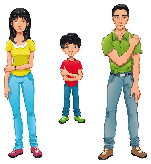 cuadro en lienzo familiares enfermos personajes de dibujos animados vector vida familiar