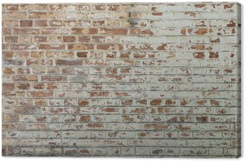 Cuadro en Lienzo Fondo de la pared de ladrillo sucio de época antigua con yeso pelado