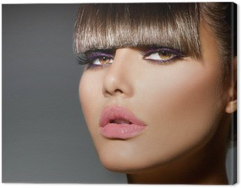 Cuadro en Lienzo Fringe. Fashion Model Girl With moda Peinado y maquillaje