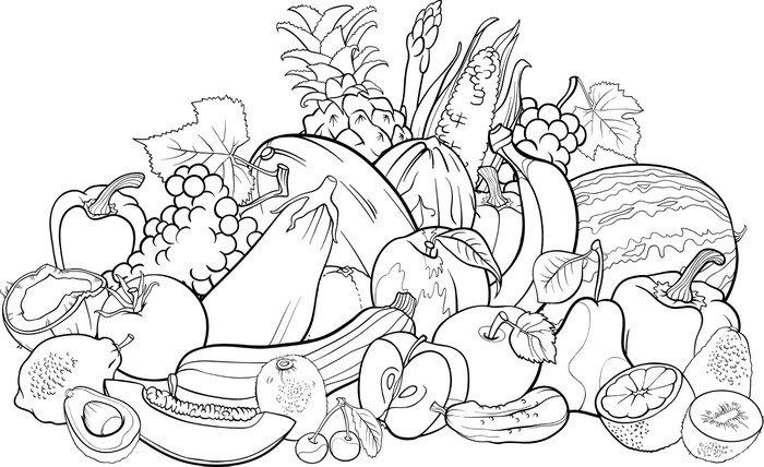 Cuadro en Lienzo Frutas y verduras para libro para colorear
