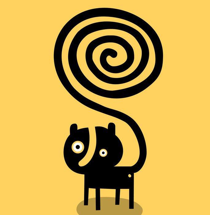 Cuadro en Lienzo Gato con la cola en espiral - Animales fantásticos