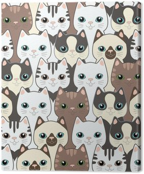 Cuadro en Lienzo Gatos divertidos dibujos animados. Patrón sin fisuras
