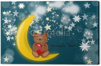 Cuadro en Lienzo Glückwunschkarte Mond und Bär