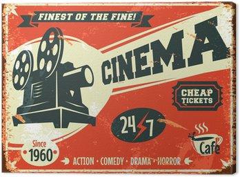 Cuadro en Lienzo Grunge cartel retro del cine. Ilustración del vector.