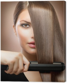 Cuadro en Lienzo Hairstyling.Hairdressing.Hair alisar el cabello Irons.Straight