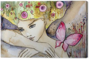 Cuadro en Lienzo Hermosa chica con mariposa
