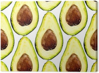 Cuadro en Lienzo Hermoso patrón repetido de aguacate, consistió en dos mitades de una fruta con pozo. Ilustración del vector.