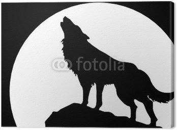 Cuadro en Lienzo Heulender Lobo vor Mond