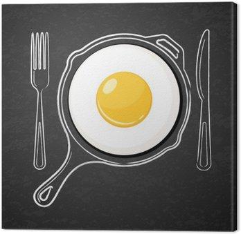 Cuadro en Lienzo Huevo frito y dibujado a mano acuarela esquema sartén, tenedor y un cuchillo