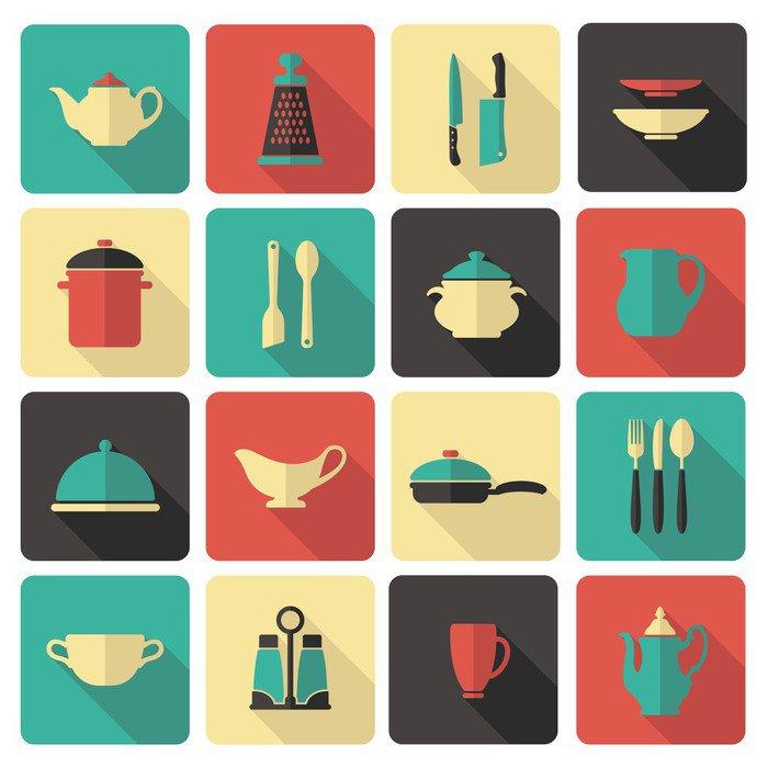 cuadro en lienzo iconos de cocina